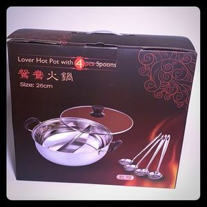 Lover's hot pot with four spoon.